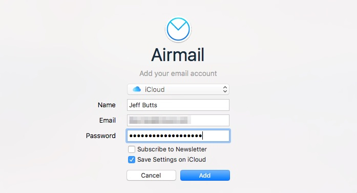 Pasting an app-specific password into the credentials for Airmail 3 so the app can access your iCloud email after two-factor authentication is enabled