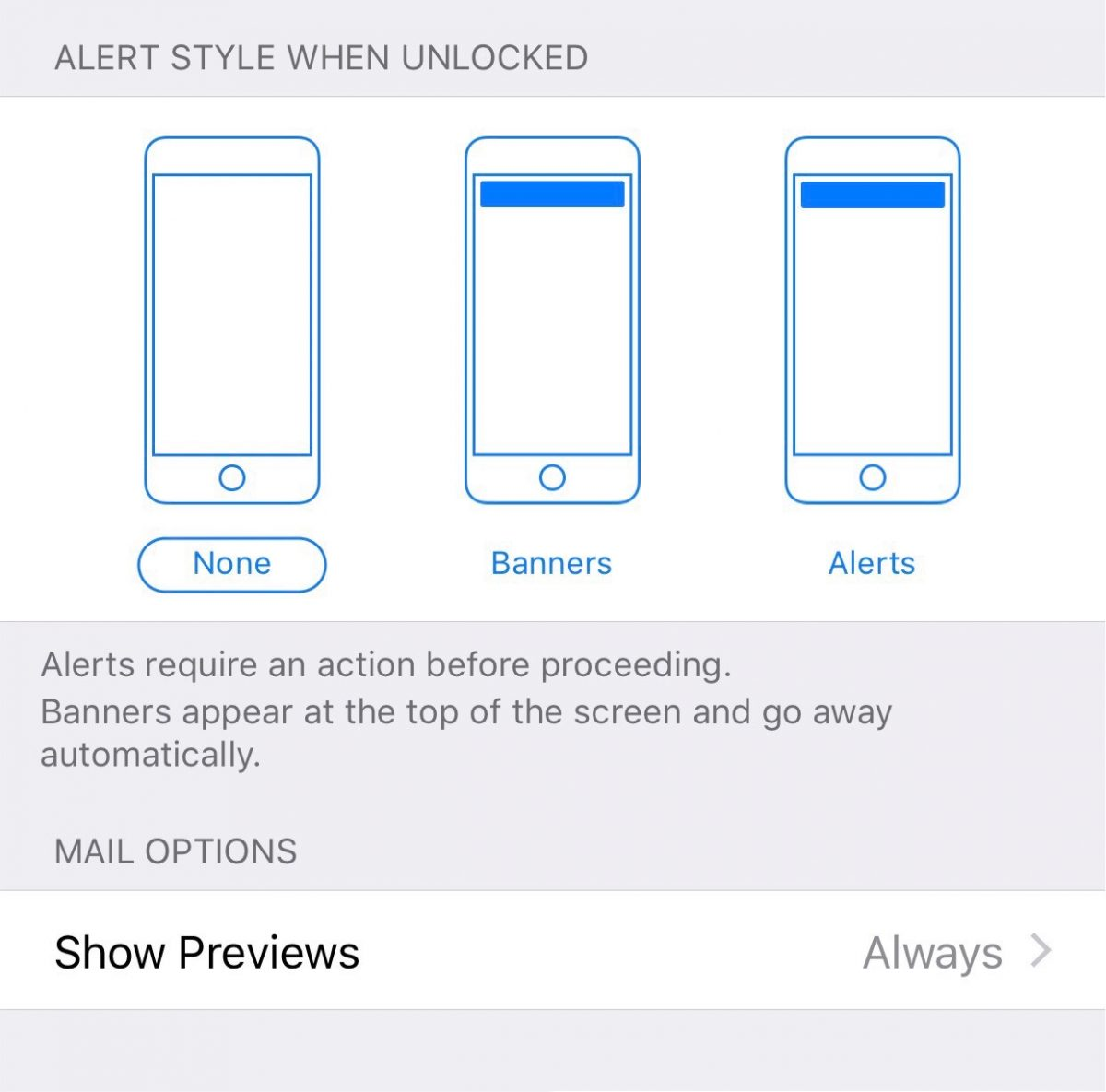 Configuring email notifications iOS