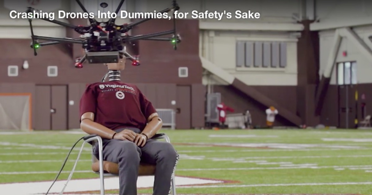 Testing drone impacts with crash dummies.