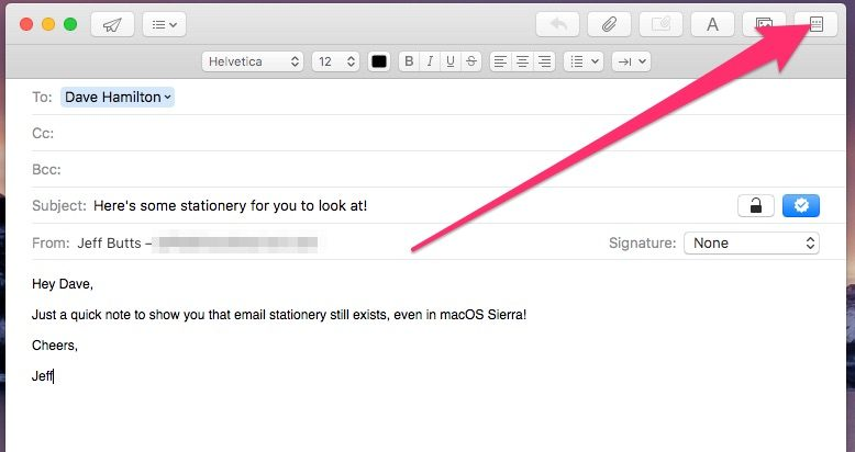 Stationery in Apple Mail is rather hidden