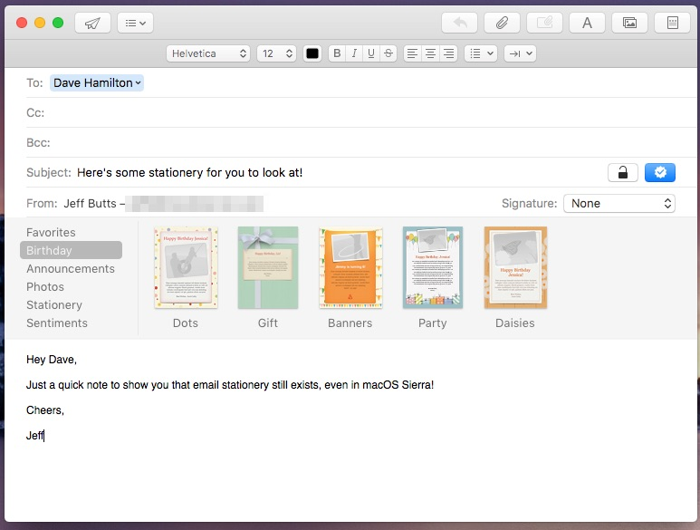 Various selections for stationery in Apple Mail