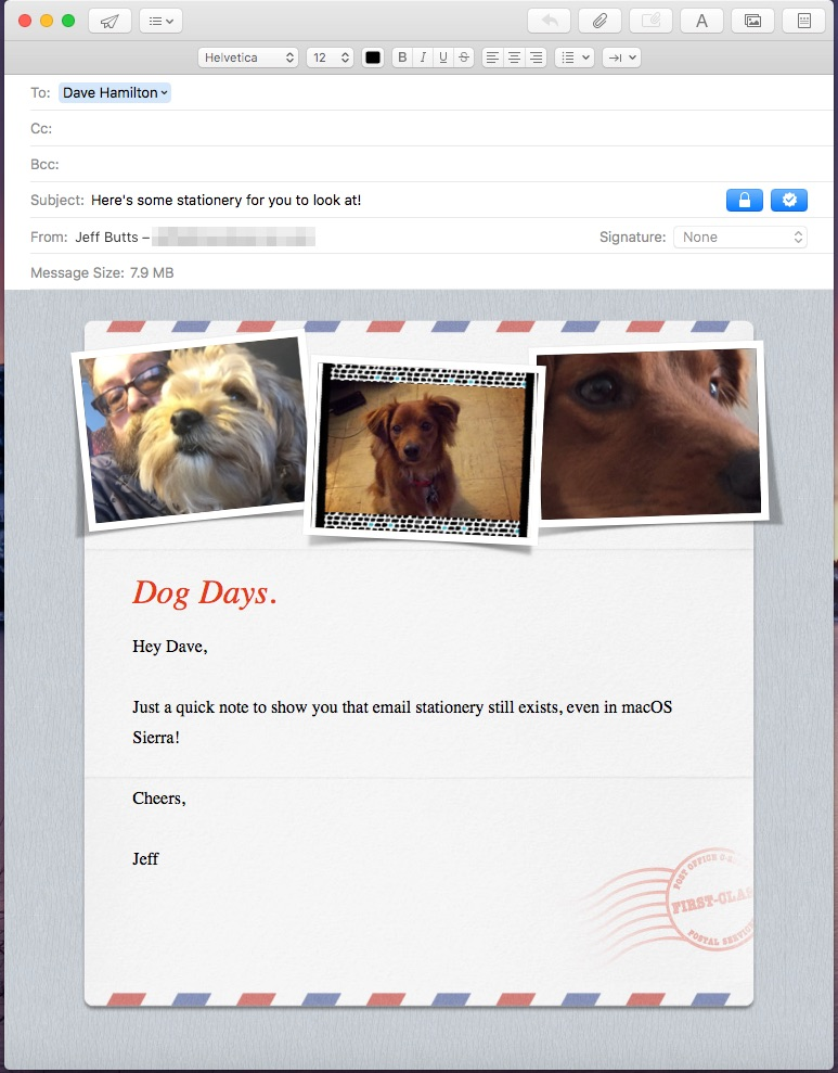 A stationery in Apple Mail that supports photos