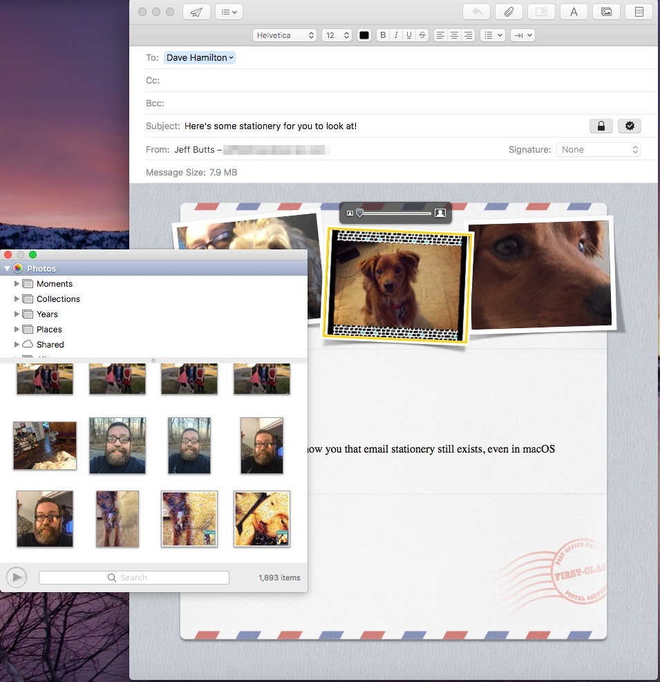 Adding pictures from the Photo Viewer in Apple Mail