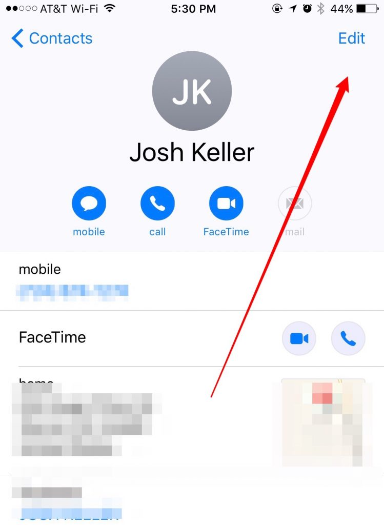 Contact on iOS 10
