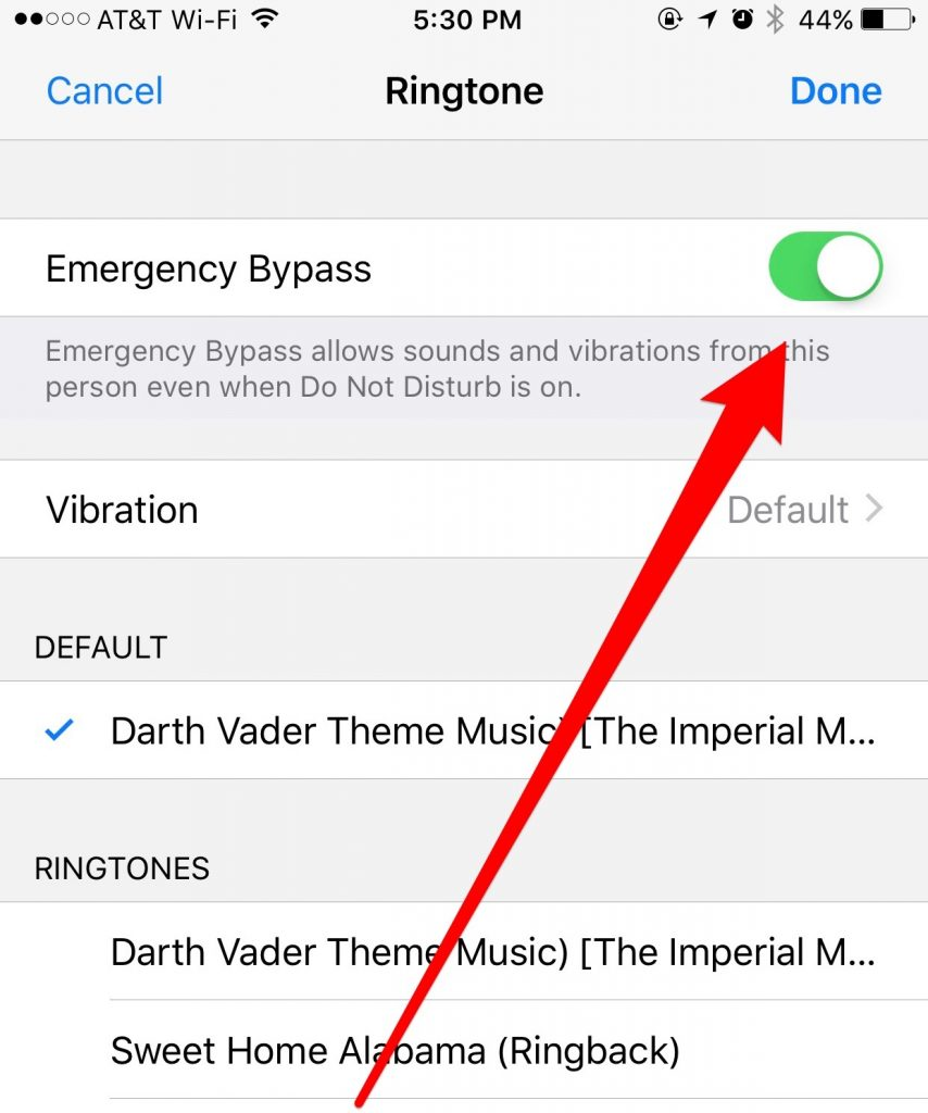 Set Emergency Bypass for the Ringtone
