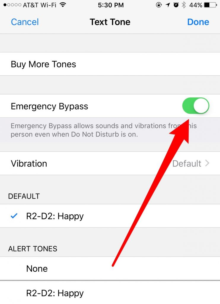 Set Emergency Bypass for the Text Tone