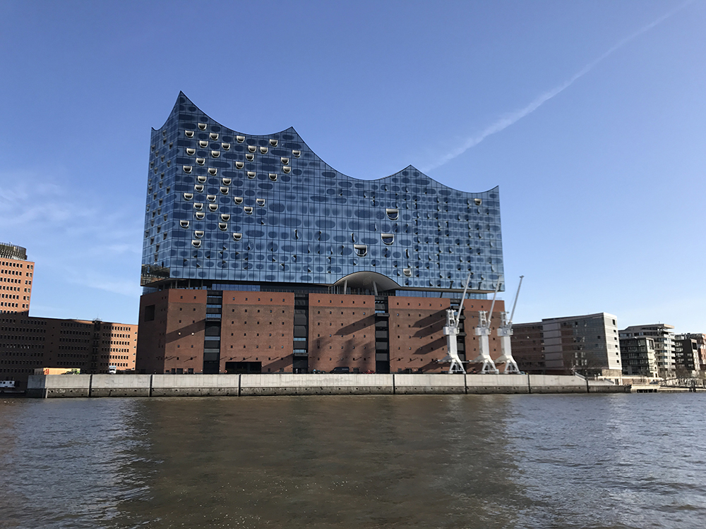 The Hamburg Elbphilharmonie (concert hall) as seen from our boat.