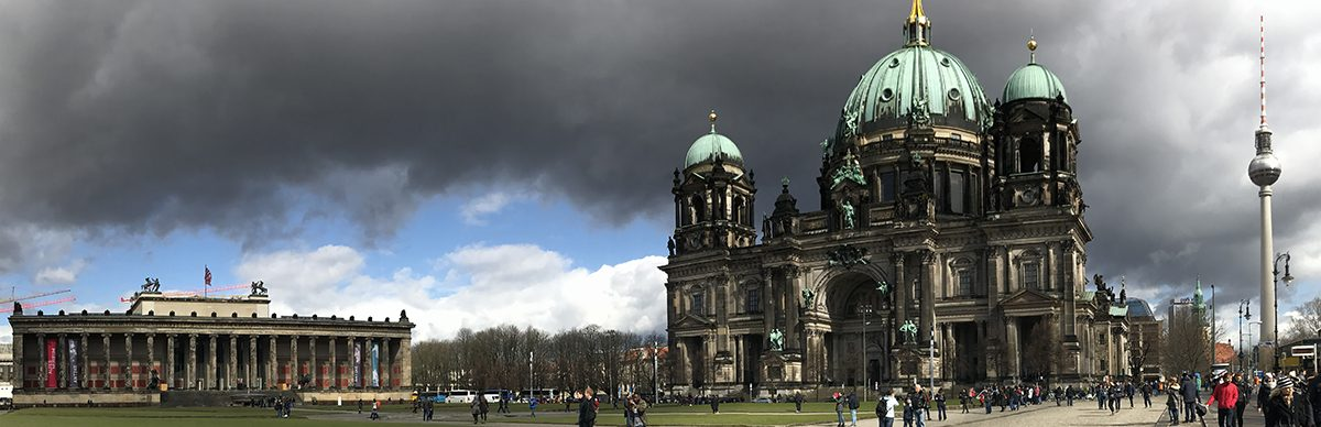 Museum (left) and church (right) in the heart of Berlin.