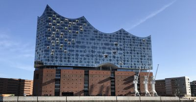 Hamburg Elbphilharmonie (concert hall) as seen from the harbor.