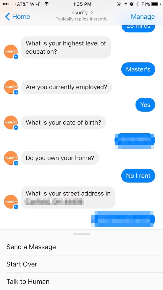 Insurify asking about education, employment, and housing