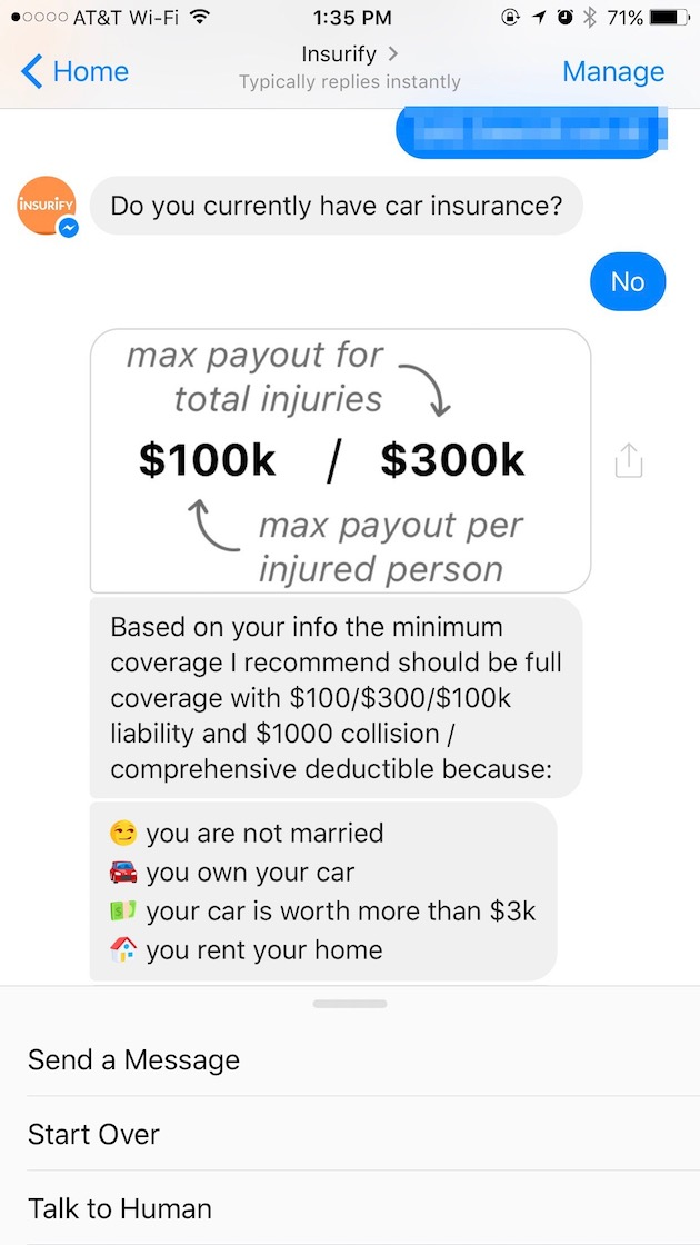 Insurify's recommendation for how much auto insurance I should carry