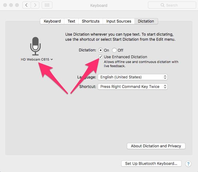 Dictation settings in macOS Sierra