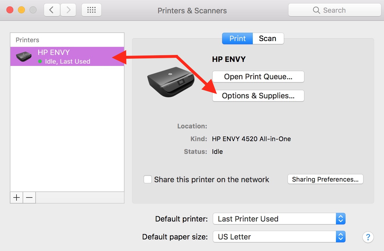 Select your printer in Printers & Scanners Preferences then click the Options & Supplies button to get to your printer's webpage