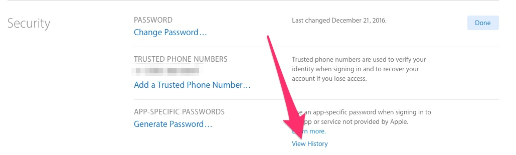 The Security menu, where you can view the app-specific passwords you've generated for apps accessing your iCloud account after two-factor authentication is enabled