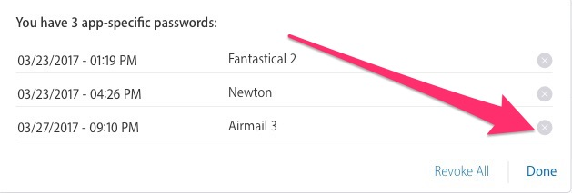 Choose an app-specific password to revoke by clicking the X button next to an app's name