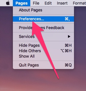 Accessing the Preferences for Pages for macOS