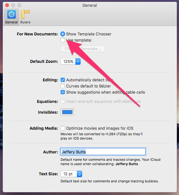 The General preferences pane in Pages for macOS