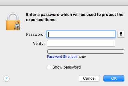 Keychain Access asking you to enter a password for your certificate file - encrypting email with iOS Mail