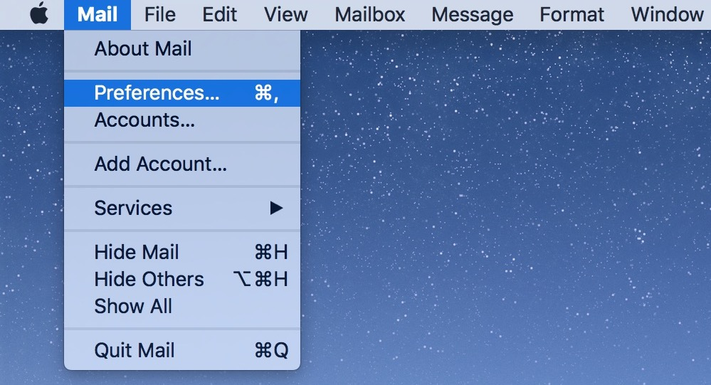 Mail Preferences includes settings for choosing which email address to use when sending new messages