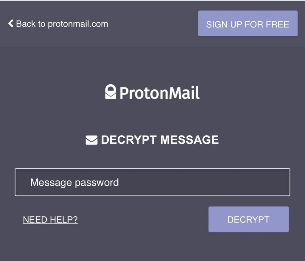 ProtonMail Entering Password