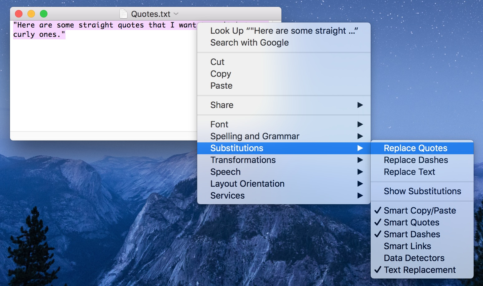 The Substitutions menu option in TextEdit includes a Replace Quotes feature
