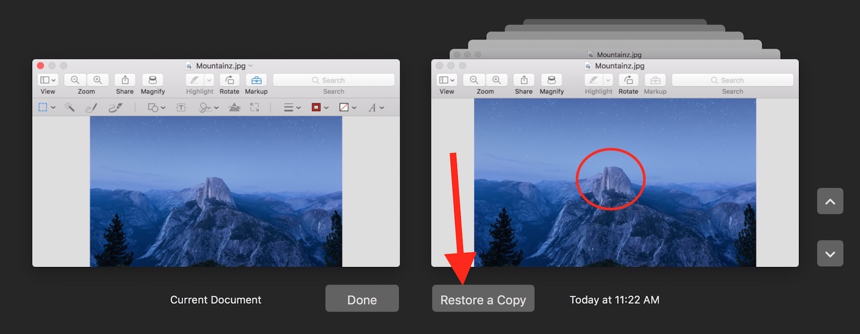 If you want to restore a file without overwriting the version you're using Option-click Restore to choose Restore a Copy