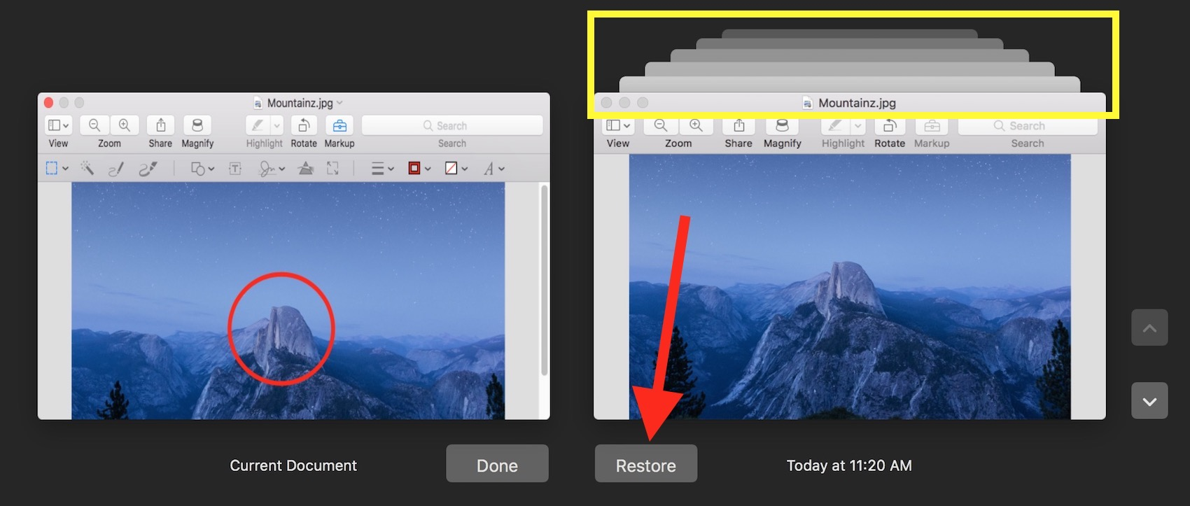 Click the Restore button to replace your current file with an earlier version