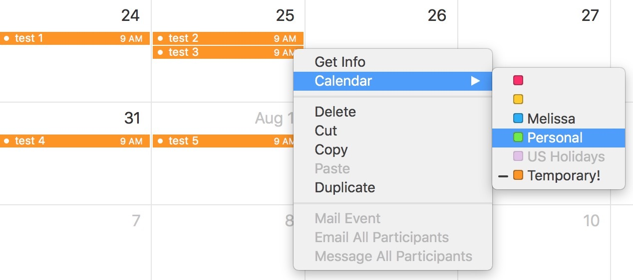 Command-click after selecting multiple events to see the Contextual Menu