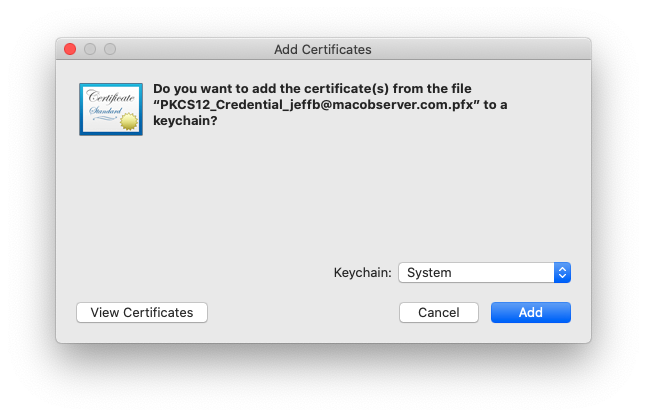 Installing an S/MIME Certificate on macOS Catalina