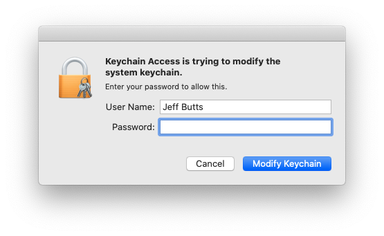 Modifying Keychain Access requires administrative access