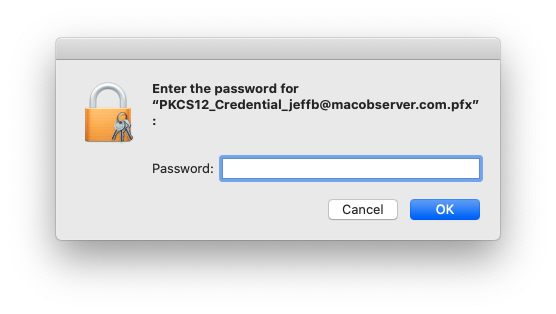 Providing the password for your S/MIME certificate