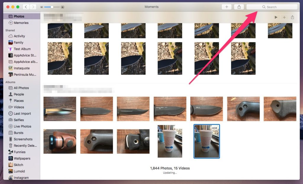 Photos on macOS, identifying the search bar