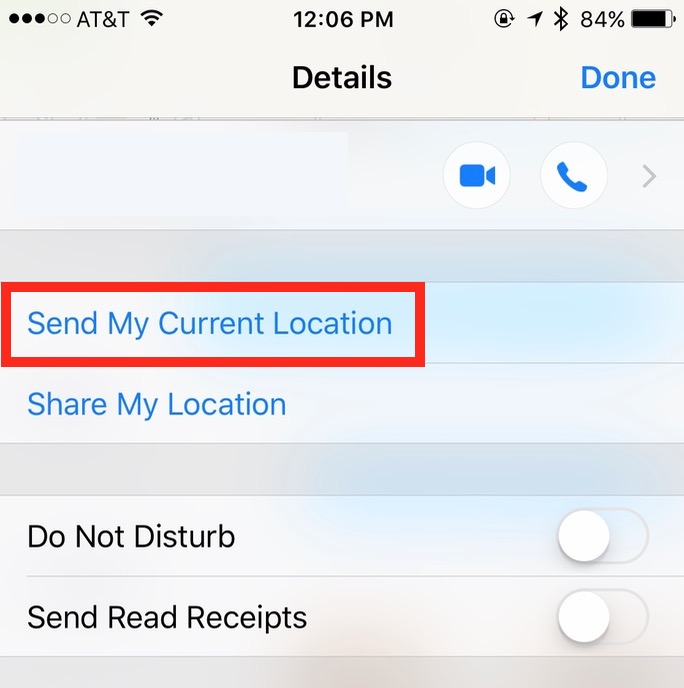 Tapping the Info button in a chat reveals the Send My Current Location feature