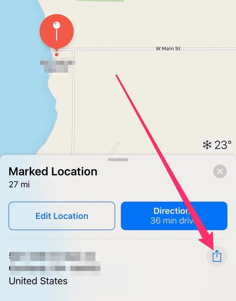 Share My Location - Finding the Share Button