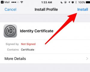 The popup in iOS to install a profile - encrypting email with iOS Mail
