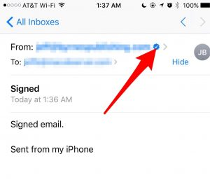A signed email in iOS Mail - encrypting email with iOS Mail
