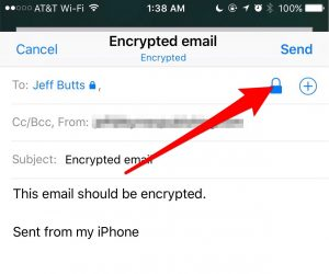 Tapping the blue lock to encrypt an email - sending encrypted email with iOS Mail
