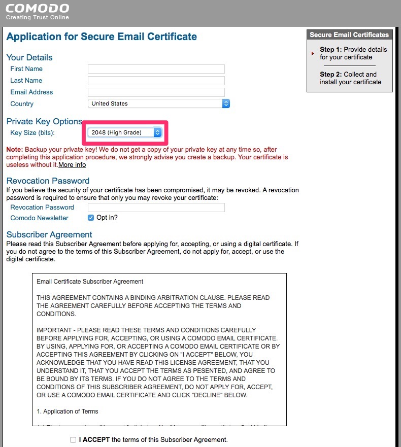 Application form for email certificate