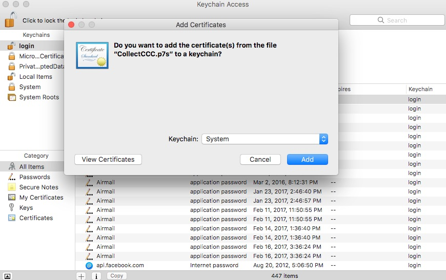 Adding certificate to Keychain