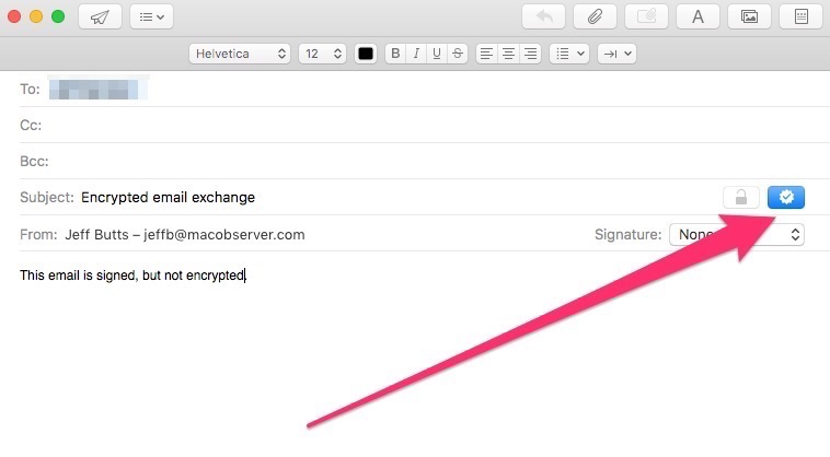 Digitally signing an email in Mail