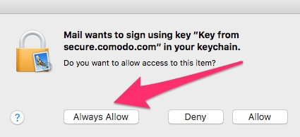 Allowing Mail to access the certificate
