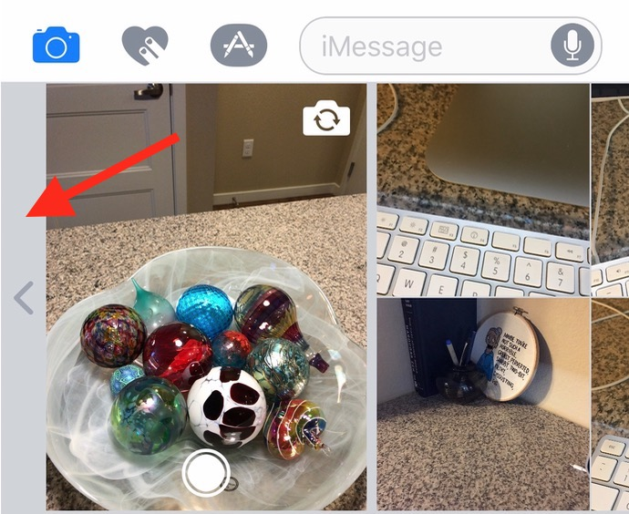 Tap the side panel in the Messages camera view to see more options