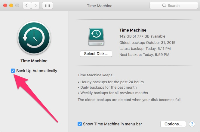 the time machine setting