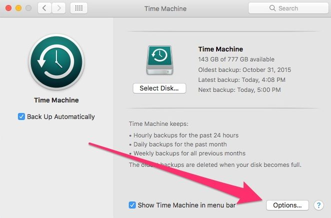Time Machine Main Preferences Pane