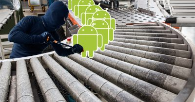 Android assembly line with a hacker breaking into them