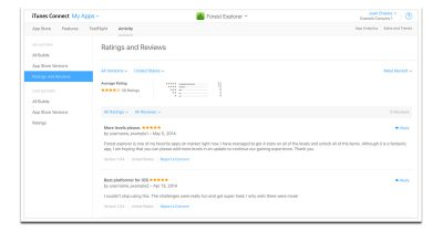 Developers can respond to App Store comments and reviews