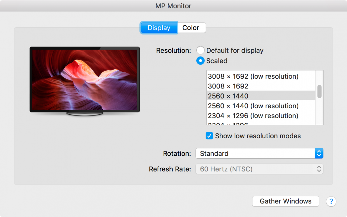 macOS System Preferences Displays Low Resolution options showing on a 4k monitor