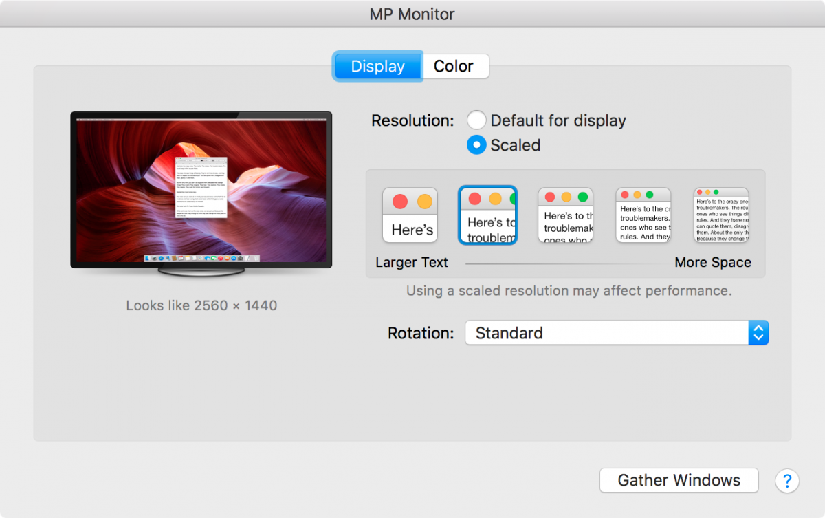 macOS Displays Preference Pane with Retina Scaled resolution showing on a 4k monitor