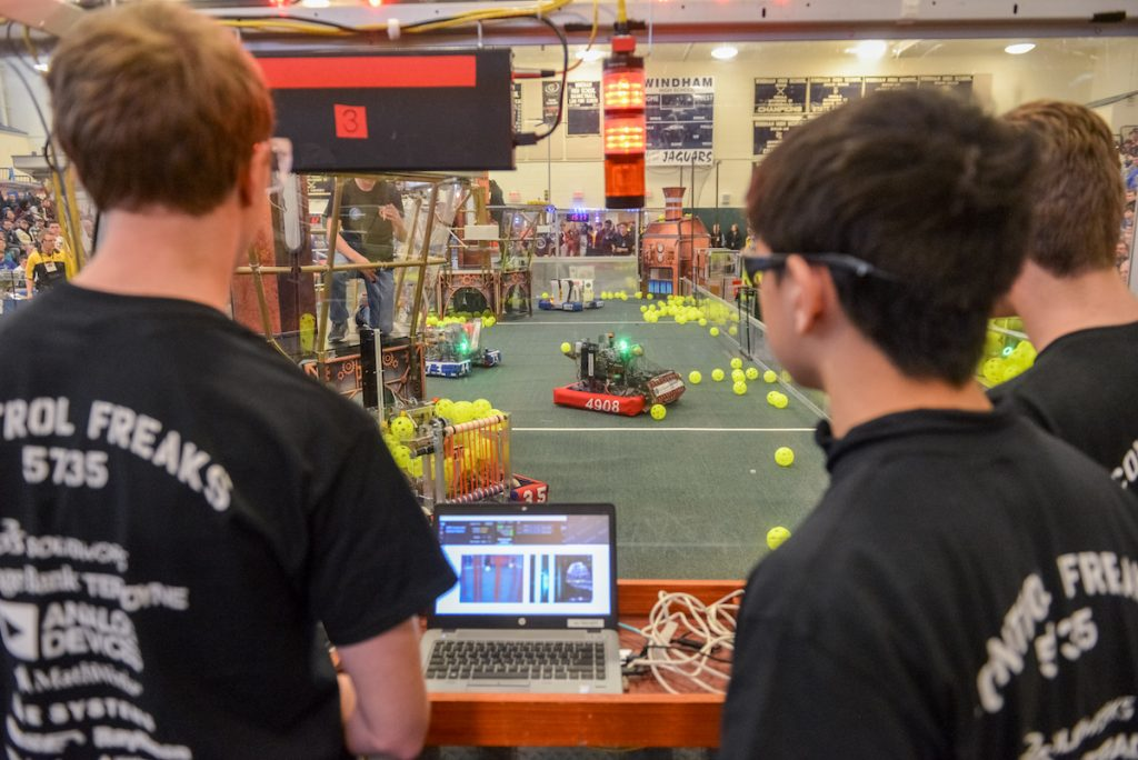 A team competing in the FIRST 2017 Steamworks Robotics Competition
