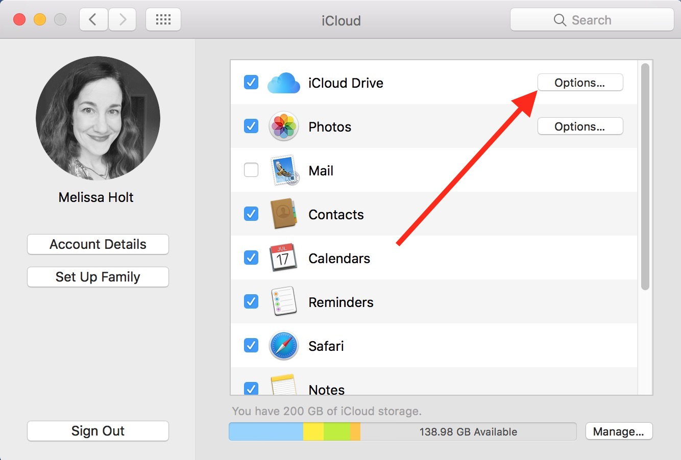 macOS iCloud Drive Options Button lets you set what files sync to the cloud